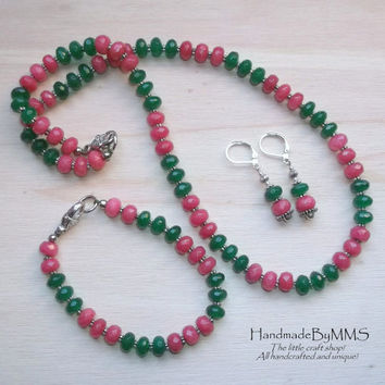 Emerald Ruby necklace set, Statement jewelry, Jewelry set, Emerald jewelry, Emerald necklace, Jewelry for her, Unique gifts, Ruby necklace