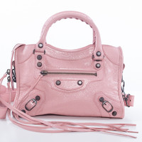 Pink leather long strap purse