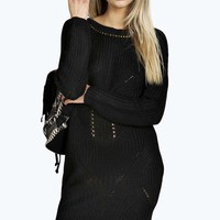Sara Contrast Cable Knit Knitted Dress