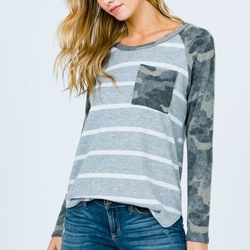 Camo Striped Raglan