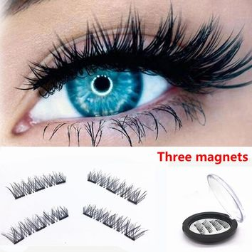1 Pair False Eyelashes Handmade 3D Magnetic False Eyelashes Natural Eyes Lashes Extension For Women Makeup Tools
