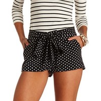 BELTED POLKA DOT HIGH-WAISTED SHORTS