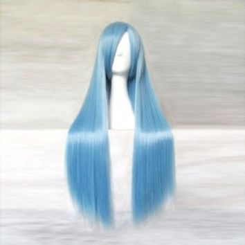 Dream2reality Cosplay_Chinese Paladin_Long Kui_Long_80cm_ice blue_Japanese kanekalon wigs