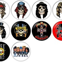 Guns N' Roses Pinback Buttons Badges/Pin 1 Inch (25mm) Set of 10 New
