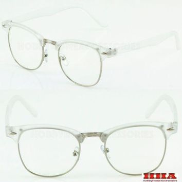 Half Frame Browline Transparent Top Classic Retro Clear Lens Glasses Half Brow