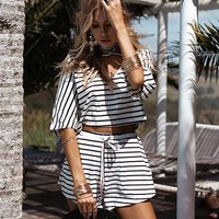 Fashion V-Neck Striped Short-Sleeved Two-Piece Shorts