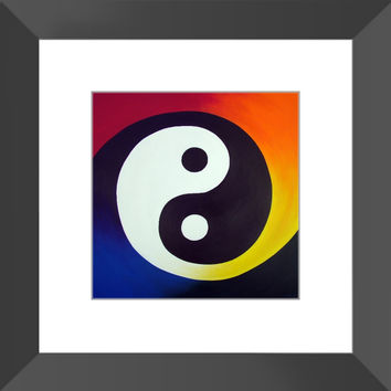 Balance - Framed Print of Rainbow Yin Yang Acrylic Paint Fine Art