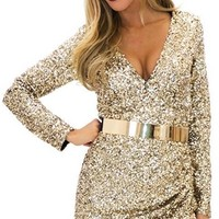 Gold Sequin Long Sleeve Plunge V Neck Ruched Tulip Bodycon Mini Dress - - Back in Stock!