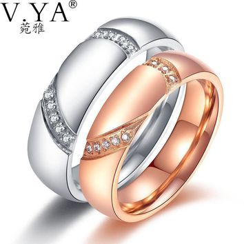 V.YA Couple Healf Heart Puzzle Rings Romantic White / Rose Gold Color Cubic Zirconia /Men Wedding