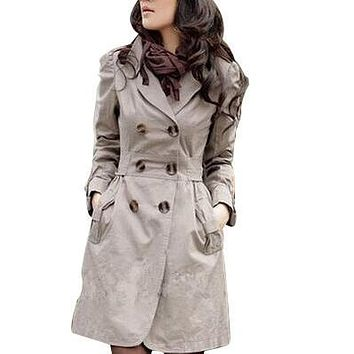Trench Coat for Women 2017 Fashion Turn-down Collar Slim Fit Cotton Double Breasted Spring Coat Ladies Coat 3 Color