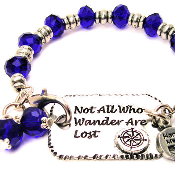 Not All Who Wander Are Lost With Compass Beaded Expression Armor Pewter Crystal Bracelet