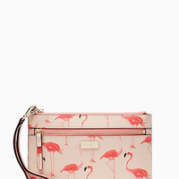 Kate Spade New York Shore Street Tinie Flamingo Wristlet