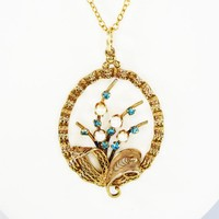 Gold Filigree Oval Flower Pendant w/Turquoise Rhinestones and Pearls on GF Chain Necklace, AmLee 12/20 GF, Art Deco Era, Vintage 1940s 1950s