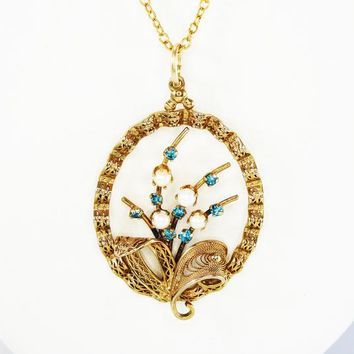 Gold Filigree Oval Flower Pendant w Turquoise Rhinestones and Pe 9e9ef6231