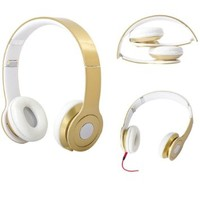 3.5mm Stereo Headphone Earphone Headset for Iphone Ipod Mp3 Mp4 Pc Tablet Laptop (Gold)
