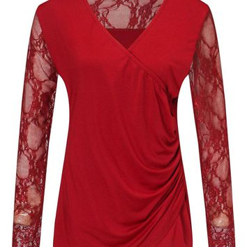 Casual Lace Patchwork Cross Wrap Long Sleeve V-neck Women T-shirts