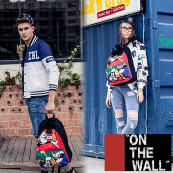"""Vans""Fashion Personality printing large capacity backpack bag leisure travel boom Mickey Mouse Donald Duck(7 style)"