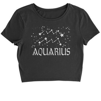 Aquarius Zodiac Star Chart  Cropped T-Shirt