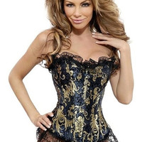 Sexy Corselet Women S-6XL Plus size Satin Overbust Embroidered Corset Bustier Top with G string Set Lingerie Corset waist training = 1958385796