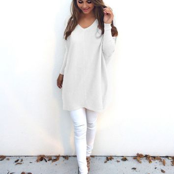 Casual White Loose Long-Sleeved Sweater Shirt