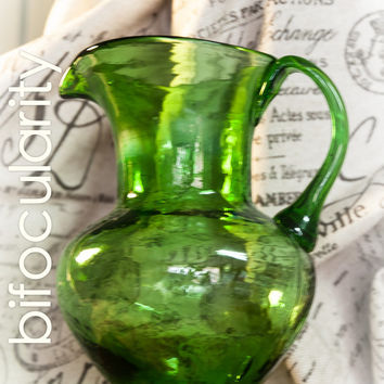 Emerald Forest Green Glass Pitcher -  with applied handle