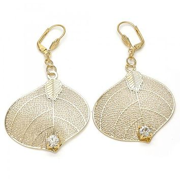 Gold Layered 080.004 Dangle Earring, Leaf and Filigree Design, with White Crystal, Polished Finish, Golden Tone