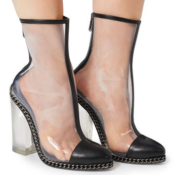Transparent Cap Toe Booties