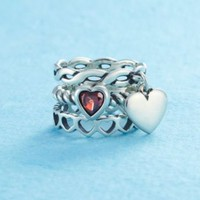 With All My Heart Stacked Rings with Dangle | James Avery