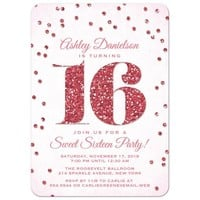 Sweet 16 Party Invitations - Pink Glitter Look Confetti