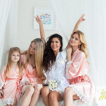 Bridesmaid Robes Bridal Party Robes Bridesmaid Gifts Satin Lace Trimmed RobeLace Bridal Robe