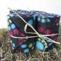 Set of 4 Polo Wraps for Horses- Black, Turquoise, Lime Green, Raspberry Polka Dot Print Fleece