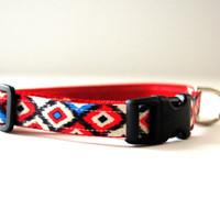 Red Geometric Dog Collar Adjustable Sizes (XS, S, M)