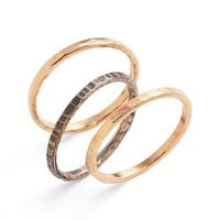 Women's Ija Stackable Hammered Rings (Set of 3)