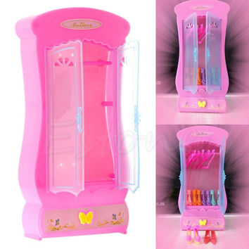 1Pc Pink Closet Wardrobe For Doll Girls Toy Princess Bedroom Furniture