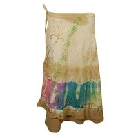 Mogul Tie Dye Brown Wrap Skirt Floral Embroidered Summer Comfy Indian Skirts - Walmart.com