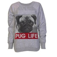 Miss High Street! Women's Act Like A Lady,Double Aztec Skull,Pug Life,Print Fleece Sweatshirt
