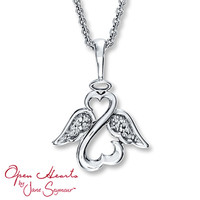 Open Heart Angel Necklace Diamond Accents Sterling Silver