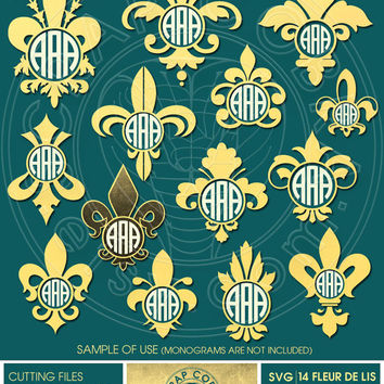 14 Fleur de lis Ditigal Monogram Frames - SVG, eps, DXF, PNG - Cut Files for Silhouette, Cricuit, other electronic cutting machines cv-126