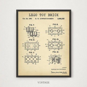 LEGO Toy Brick Patent Printable, Lego Poster, Lego Toys Building Brick Print, Nursery Decor, Kids Room Wall Art, Blueprint Digital Download