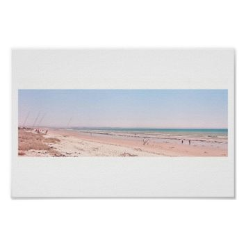 Pastel Pink Blue Beach Ocean Sea Walking Poster