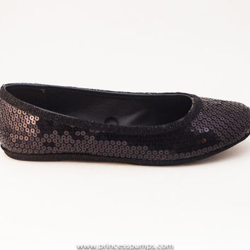Sequin Obsidian Black Ballet Flats Slippers Shoes by Princess Pumps