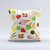 Delish Treats Color Pattern ink-Fuzed Decorative Throw Pillow