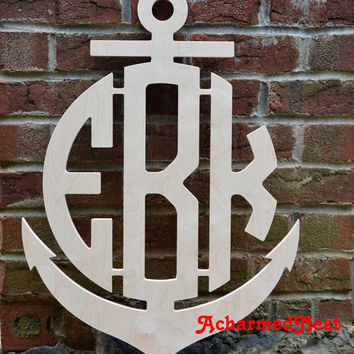 26 inch Anchor Wooden Monogram Letters- Wall Monogram- Circular Monogram