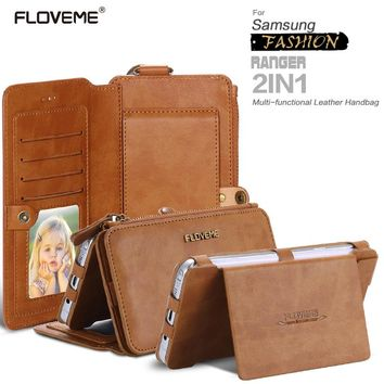 FLOVEME Retro Leather Phone Case For Samsung Galaxy NOTE 3 4 5 / S6 S7 edge For iPhone 7 6 5s Plus Card Wallet Protective Cover