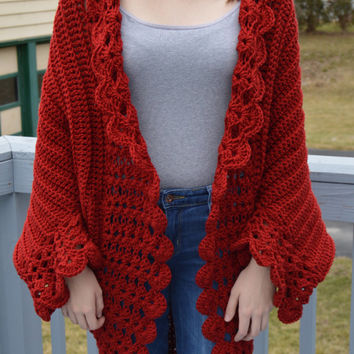 Beautiful Berry Red Crochet Cocoon Cardigan (FITS Woman's Small to XLarge)