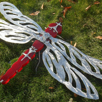 Large Red Stained Glass and Stainless Steel DragonFly Sculpture, Red Valentines Dragonfly