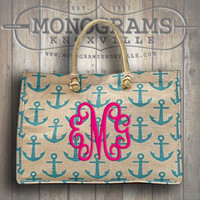 Monogrammed Large Aqua ANCHOR Print Jute Tote  Font shown INTERLOCKING in bright pink