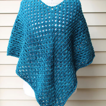 Teal Poncho Shawl - Granny Square Stitch - Teal Variegated Sweater - Winter Wrap