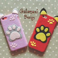 Handmade Cat's Paw Print Phone Case, Cat Paw iPhone 6, iPhone 6 Plus Cover,  Felt Kitty Paw Case for iPhone 4/4S/5/5S/5C, Custom Phone Case