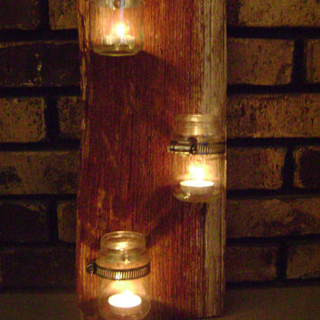 Reclaimed Barn Wood 3 Jar Mount Candle Holders Red small jars rustic decor